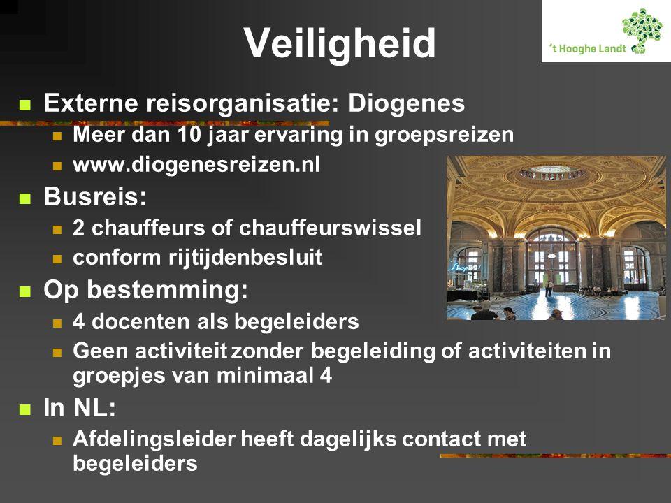 Veiligheid  Externe reisorganisatie: Diogenes  Meer dan 10 jaar ervaring in groepsreizen  www.diogenesreizen.nl  Busreis:  2 chauffeurs of chauff