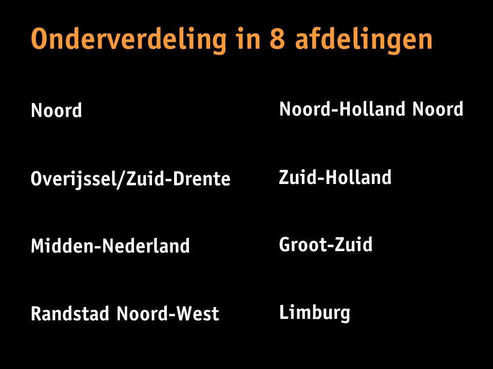 Onderverdeling in 8 afdelingen Noord Overijssel/Zuid-Drente Midden-Nederland Randstad Noord-West Noord-Holland Noord Zuid-Holland Groot-Zuid Limburg