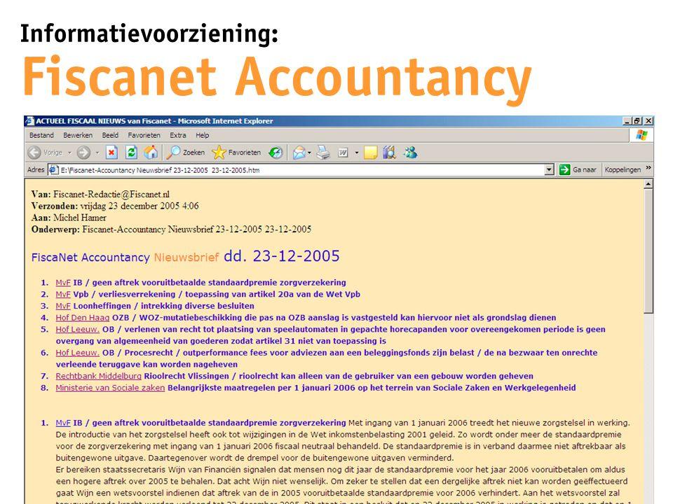 Informatievoorziening: Fiscanet Accountancy