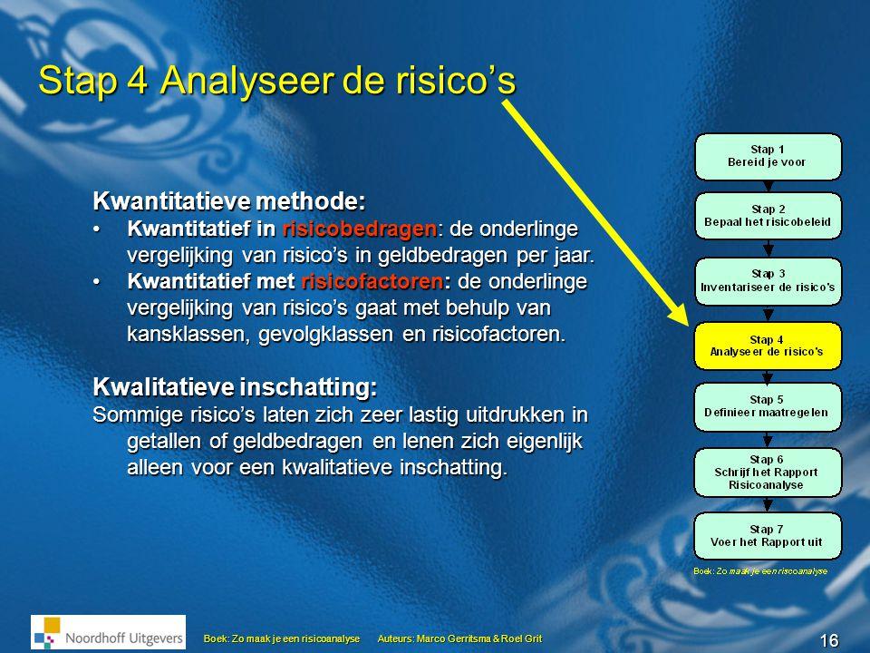 16 Boek: Zo maak je een risicoanalyseAuteurs: Marco Gerritsma & Roel Grit Stap 4 Analyseer de risico's Kwantitatieve methode: •Kwantitatief in risicob