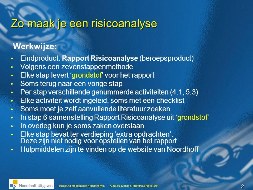 23 Boek: Zo maak je een risicoanalyseAuteurs: Marco Gerritsma & Roel Grit Stap 5 … Calamiteitenplan Een calamiteit is een onverwachte rampzalige gebeurtenis die het voortbestaan van de organisatie bedreigt.