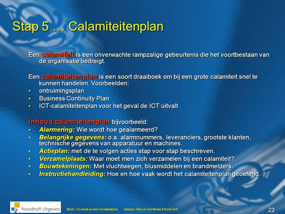 23 Boek: Zo maak je een risicoanalyseAuteurs: Marco Gerritsma & Roel Grit Stap 5 … Calamiteitenplan Een calamiteit is een onverwachte rampzalige gebeu