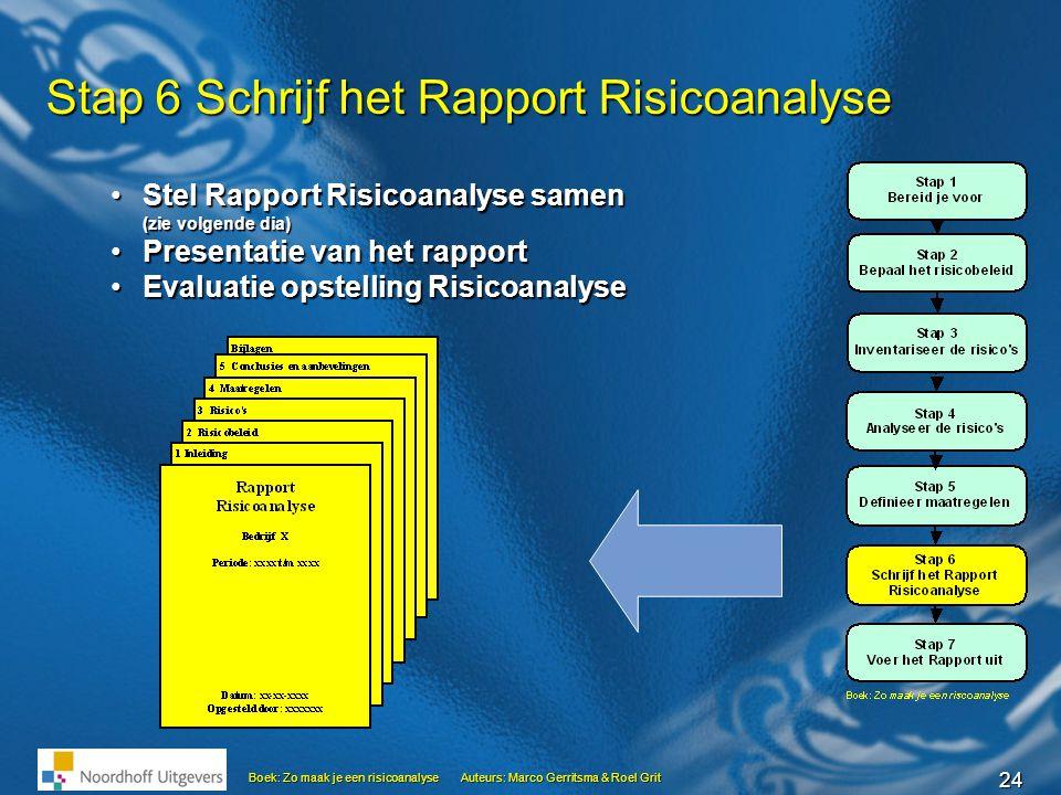24 Boek: Zo maak je een risicoanalyseAuteurs: Marco Gerritsma & Roel Grit Stap 6 Schrijf het Rapport Risicoanalyse •Stel Rapport Risicoanalyse samen (
