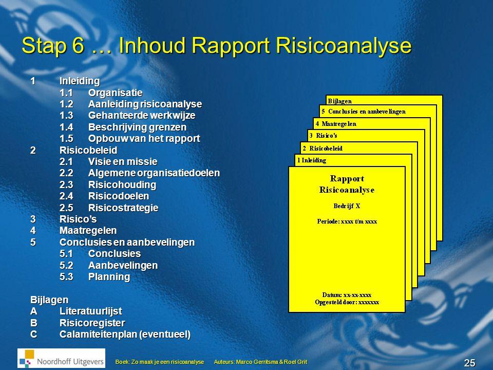 25 Boek: Zo maak je een risicoanalyseAuteurs: Marco Gerritsma & Roel Grit Stap 6 … Inhoud Rapport Risicoanalyse 1Inleiding 1.1Organisatie 1.2Aanleidin