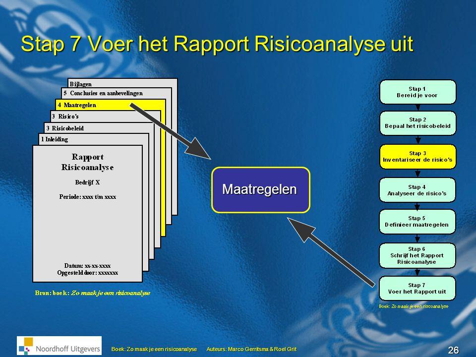 26 Boek: Zo maak je een risicoanalyseAuteurs: Marco Gerritsma & Roel Grit Stap 7 Voer het Rapport Risicoanalyse uit Maatregelen
