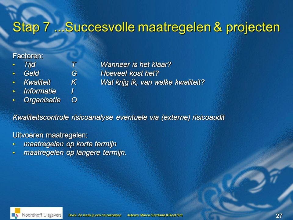 27 Boek: Zo maak je een risicoanalyseAuteurs: Marco Gerritsma & Roel Grit Stap 7...Succesvolle maatregelen & projecten Factoren: • Tijd TWanneer is he