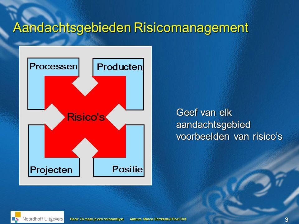 3 Boek: Zo maak je een risicoanalyseAuteurs: Marco Gerritsma & Roel Grit Aandachtsgebieden Risicomanagement Geef van elk aandachtsgebied voorbeelden v