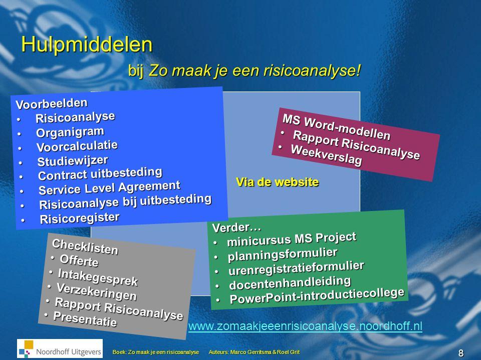 8 Hulpmiddelen MS Word-modellen • Rapport Risicoanalyse • Weekverslag bij Zo maak je een risicoanalyse! Checklisten •Offerte •Intakegesprek •Verzekeri