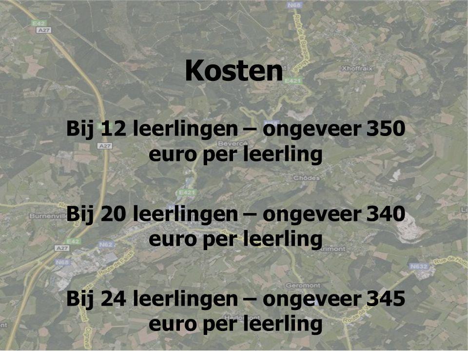 Kosten Bij 12 leerlingen – ongeveer 350 euro per leerling Bij 20 leerlingen – ongeveer 340 euro per leerling Bij 24 leerlingen – ongeveer 345 euro per leerling