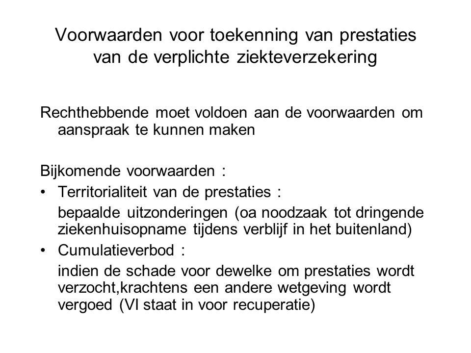 Voorwaarden voor toekenning van prestaties van de verplichte ziekteverzekering Rechthebbende moet voldoen aan de voorwaarden om aanspraak te kunnen ma