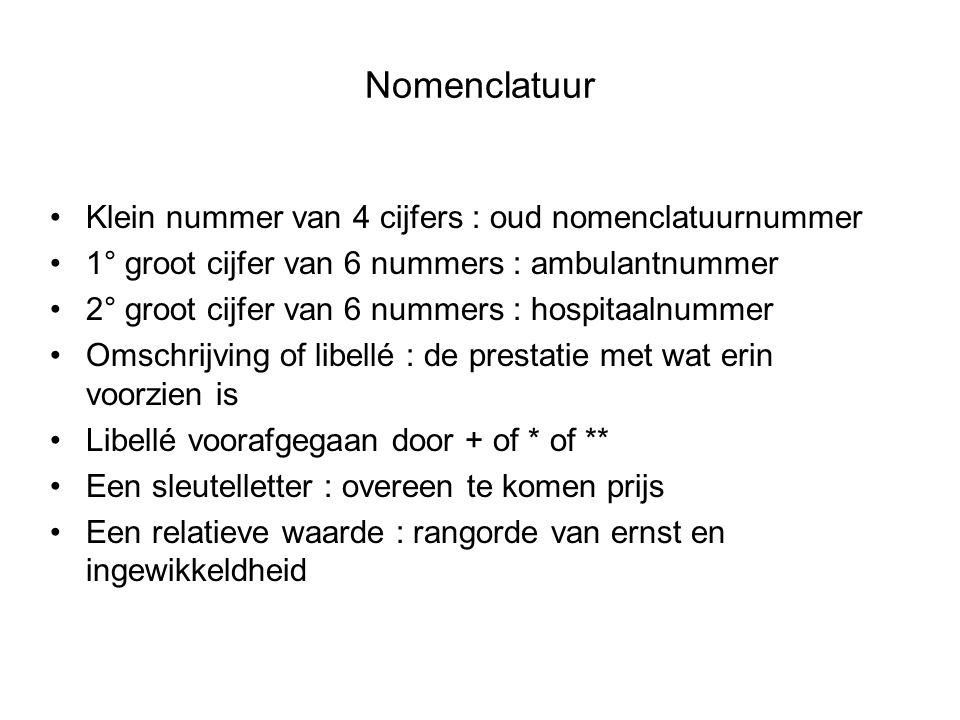 Nomenclatuur •Klein nummer van 4 cijfers : oud nomenclatuurnummer •1° groot cijfer van 6 nummers : ambulantnummer •2° groot cijfer van 6 nummers : hos