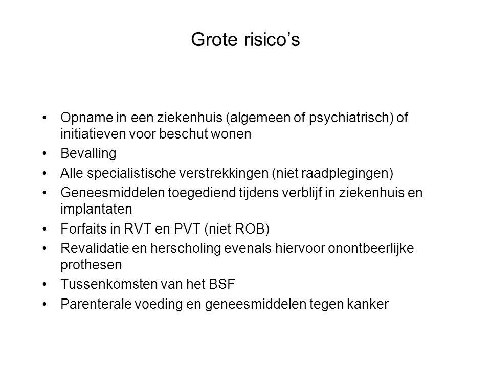 Grote risico's •Opname in een ziekenhuis (algemeen of psychiatrisch) of initiatieven voor beschut wonen •Bevalling •Alle specialistische verstrekkinge