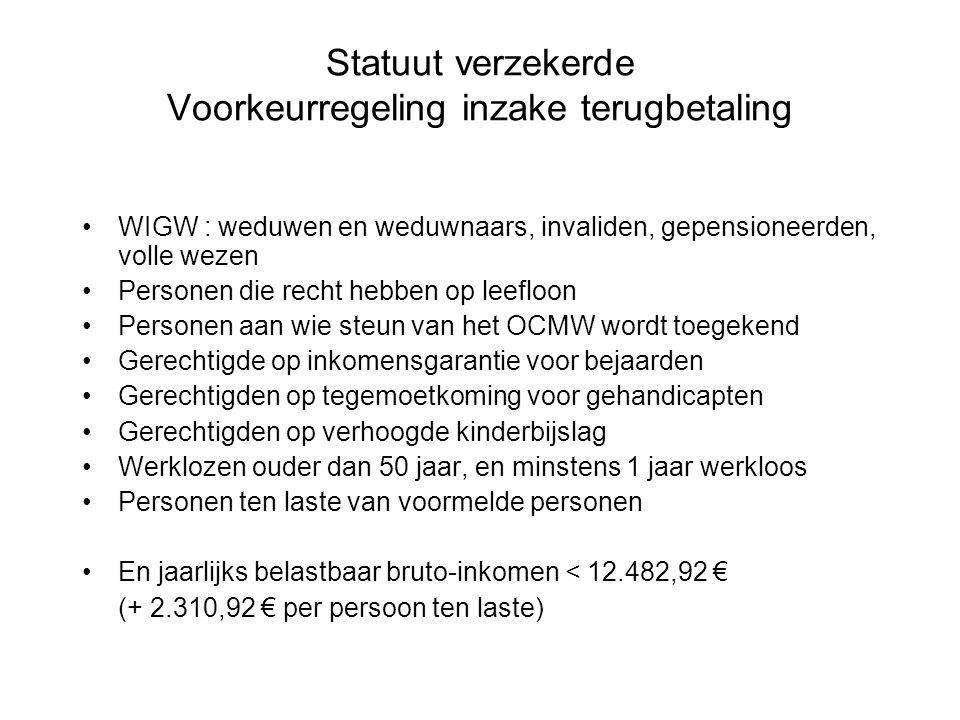 Statuut verzekerde Voorkeurregeling inzake terugbetaling •WIGW : weduwen en weduwnaars, invaliden, gepensioneerden, volle wezen •Personen die recht he