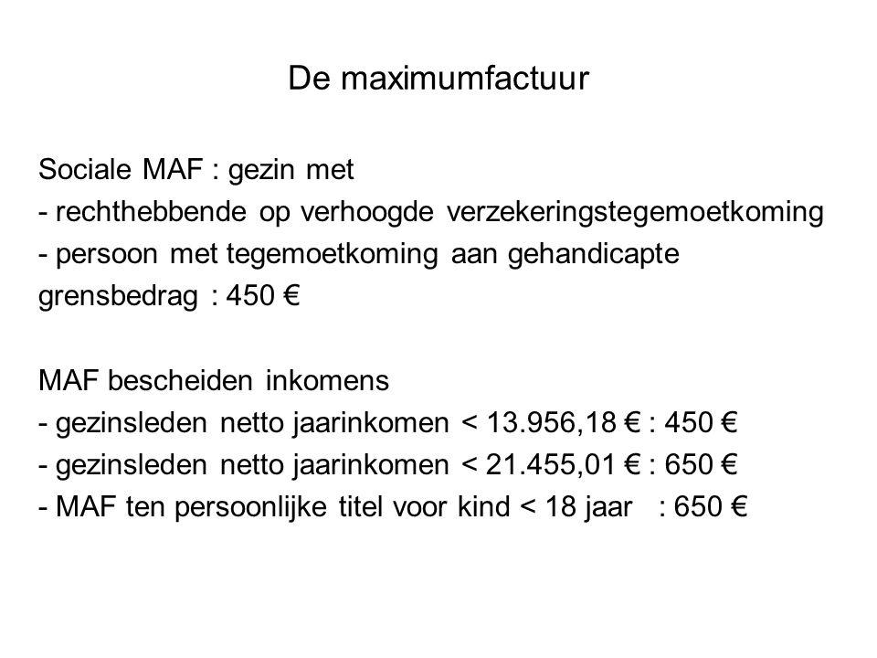 De maximumfactuur Sociale MAF : gezin met - rechthebbende op verhoogde verzekeringstegemoetkoming - persoon met tegemoetkoming aan gehandicapte grensb