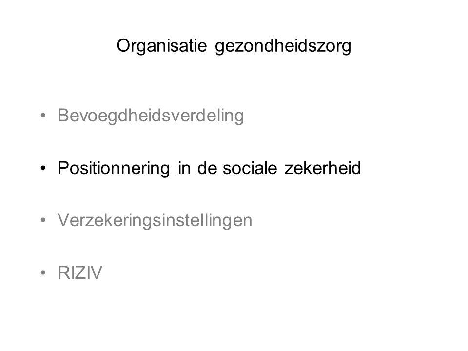 Organisatie gezondheidszorg •Bevoegdheidsverdeling •Positionnering in de sociale zekerheid •Verzekeringsinstellingen •RIZIV
