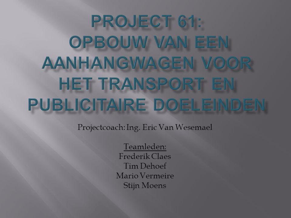 Projectcoach: Ing. Eric Van Wesemael Teamleden: Frederik Claes Tim Dehoef Mario Vermeire Stijn Moens