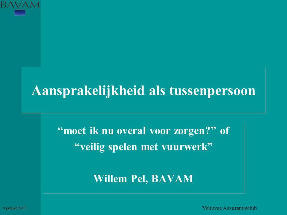 """Veluwse Assurantieclub 9 januari 2008 Aansprakelijkheid als tussenpersoon """"moet ik nu overal voor zorgen?"""" of """"veilig spelen met vuurwerk"""" Willem Pel,"""