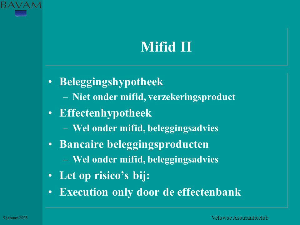 Veluwse Assurantieclub 9 januari 2008 Mifid II •Beleggingshypotheek –Niet onder mifid, verzekeringsproduct •Effectenhypotheek –Wel onder mifid, belegg