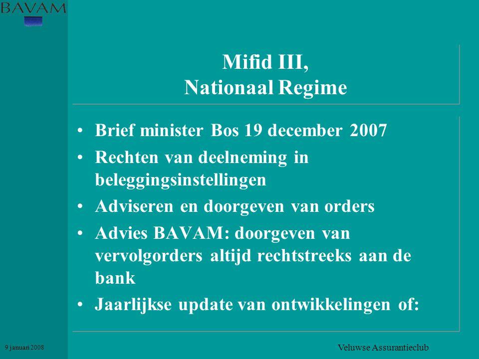 Veluwse Assurantieclub 9 januari 2008 Mifid III, Nationaal Regime •Brief minister Bos 19 december 2007 •Rechten van deelneming in beleggingsinstelling