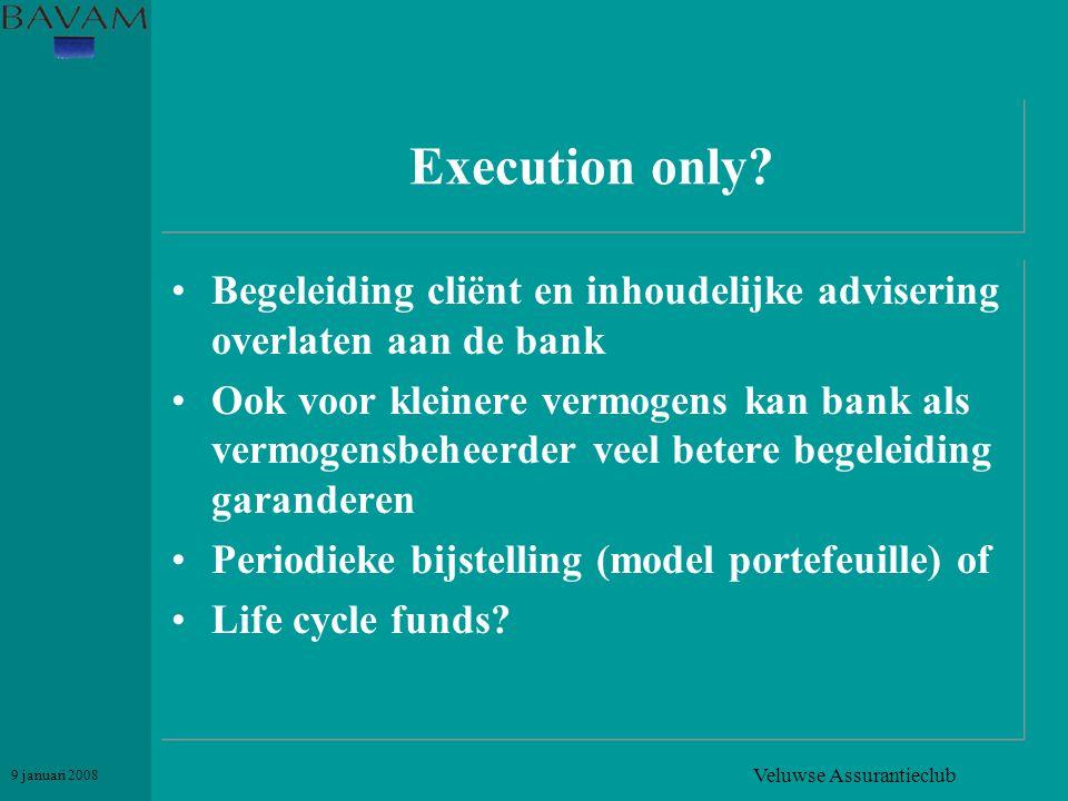 Veluwse Assurantieclub 9 januari 2008 Execution only? •Begeleiding cliënt en inhoudelijke advisering overlaten aan de bank •Ook voor kleinere vermogen