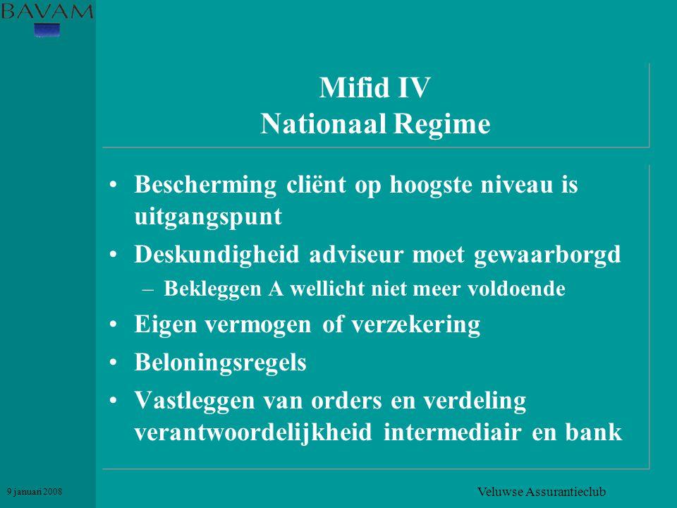 Veluwse Assurantieclub 9 januari 2008 Mifid IV Nationaal Regime •Bescherming cliënt op hoogste niveau is uitgangspunt •Deskundigheid adviseur moet gew
