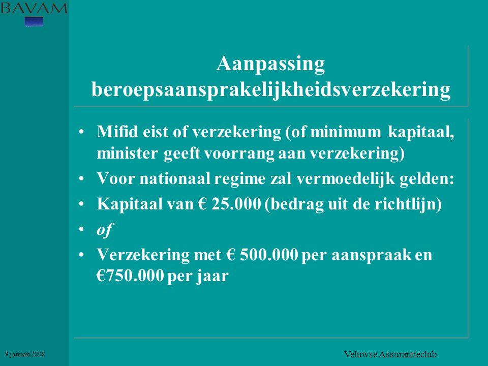 Veluwse Assurantieclub 9 januari 2008 Aanpassing beroepsaansprakelijkheidsverzekering •Mifid eist of verzekering (of minimum kapitaal, minister geeft
