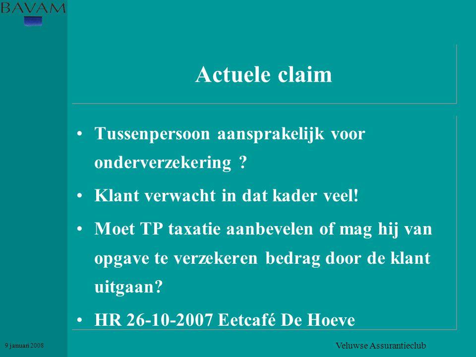 Veluwse Assurantieclub 9 januari 2008 Actuele claim •Tussenpersoon aansprakelijk voor onderverzekering ? •Klant verwacht in dat kader veel! •Moet TP t