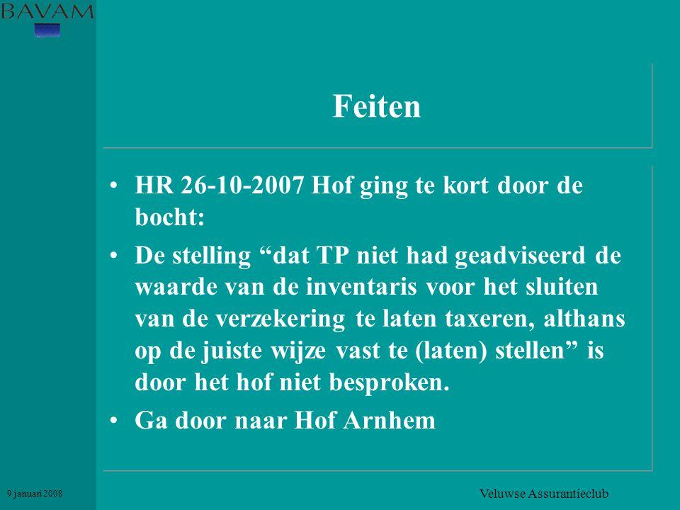"""Veluwse Assurantieclub 9 januari 2008 Feiten •HR 26-10-2007 Hof ging te kort door de bocht: •De stelling """"dat TP niet had geadviseerd de waarde van de"""