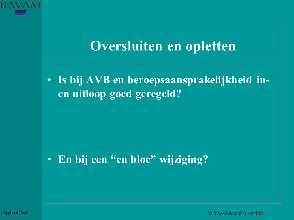 """Veluwse Assurantieclub 9 januari 2008 Oversluiten en opletten •Is bij AVB en beroepsaansprakelijkheid in- en uitloop goed geregeld? •En bij een """"en bl"""