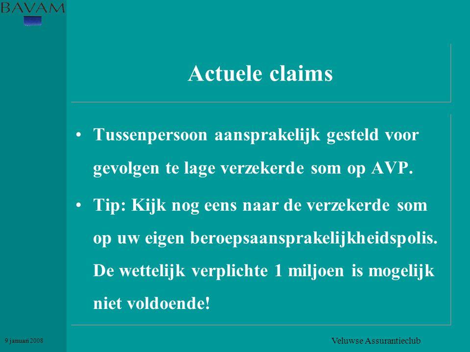 Veluwse Assurantieclub 9 januari 2008 Actuele claims •Tussenpersoon aansprakelijk gesteld voor gevolgen te lage verzekerde som op AVP. •Tip: Kijk nog