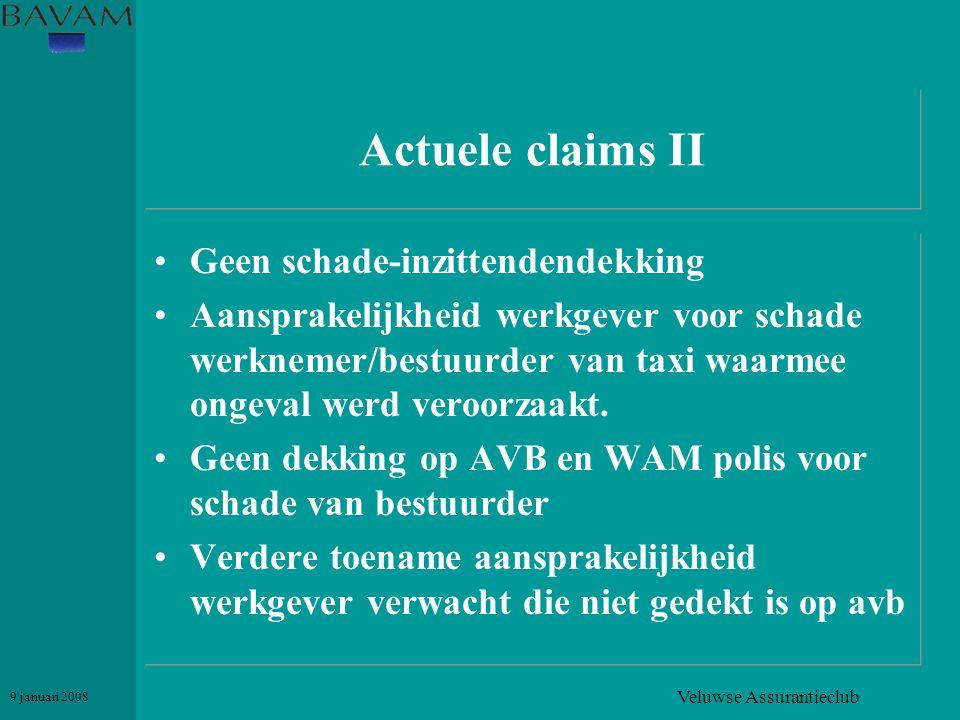 Veluwse Assurantieclub 9 januari 2008 Actuele claims II •Geen schade-inzittendendekking •Aansprakelijkheid werkgever voor schade werknemer/bestuurder