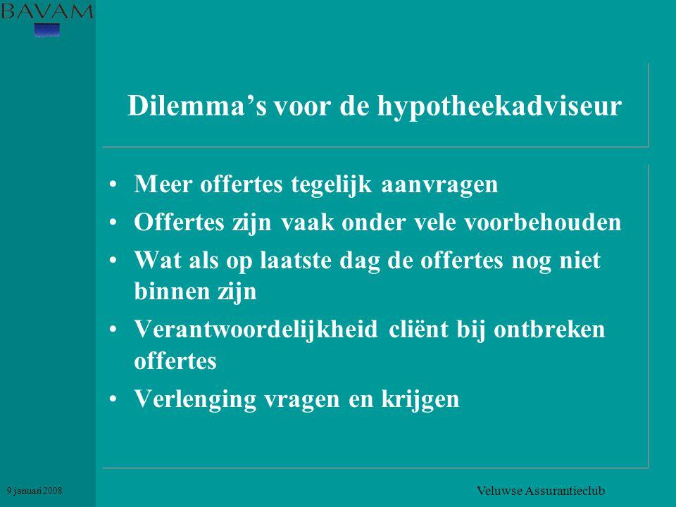Veluwse Assurantieclub 9 januari 2008 Dilemma's voor de hypotheekadviseur •Meer offertes tegelijk aanvragen •Offertes zijn vaak onder vele voorbehoude