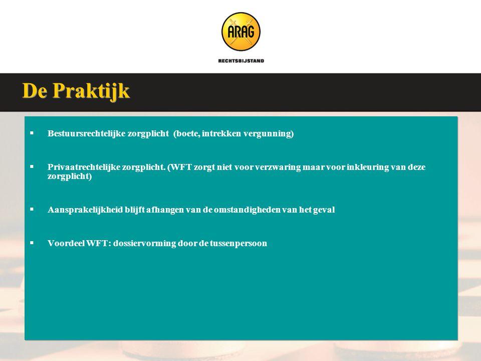 Veluwse Assurantieclub 9 januari 2008  Bestuursrechtelijke zorgplicht (boete, intrekken vergunning)  Privaatrechtelijke zorgplicht. (WFT zorgt niet