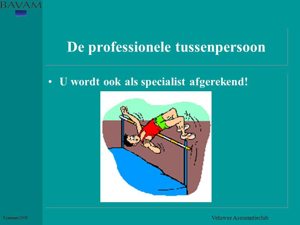 Veluwse Assurantieclub 9 januari 2008 De professionele tussenpersoon •U wordt ook als specialist afgerekend!