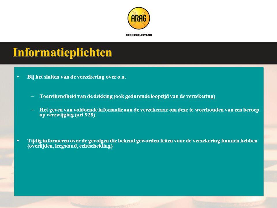 Veluwse Assurantieclub 9 januari 2008 •Bij het sluiten van de verzekering over o.a. –Toereikendheid van de dekking (ook gedurende looptijd van de verz