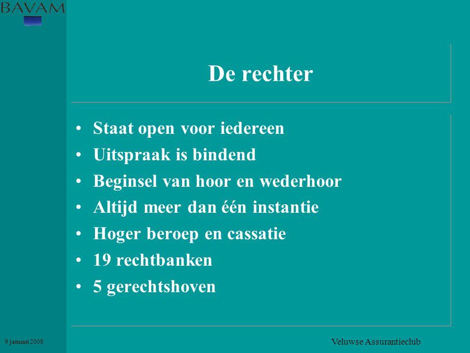 Veluwse Assurantieclub 9 januari 2008 De rechter •Staat open voor iedereen •Uitspraak is bindend •Beginsel van hoor en wederhoor •Altijd meer dan één