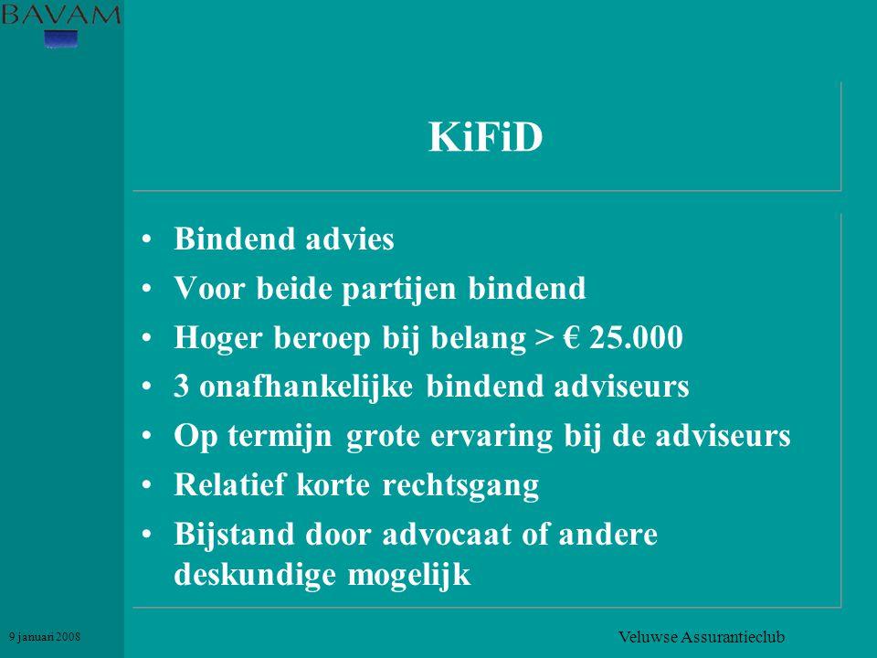 Veluwse Assurantieclub 9 januari 2008 KiFiD •Bindend advies •Voor beide partijen bindend •Hoger beroep bij belang > € 25.000 •3 onafhankelijke bindend