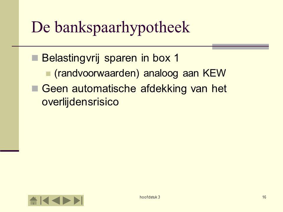 hoofdstuk 316 De bankspaarhypotheek  Belastingvrij sparen in box 1  (randvoorwaarden) analoog aan KEW  Geen automatische afdekking van het overlijdensrisico