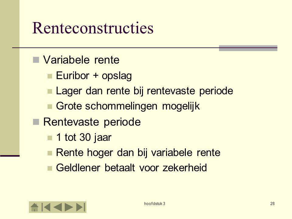 hoofdstuk 328 Renteconstructies  Variabele rente  Euribor + opslag  Lager dan rente bij rentevaste periode  Grote schommelingen mogelijk  Rentevaste periode  1 tot 30 jaar  Rente hoger dan bij variabele rente  Geldlener betaalt voor zekerheid