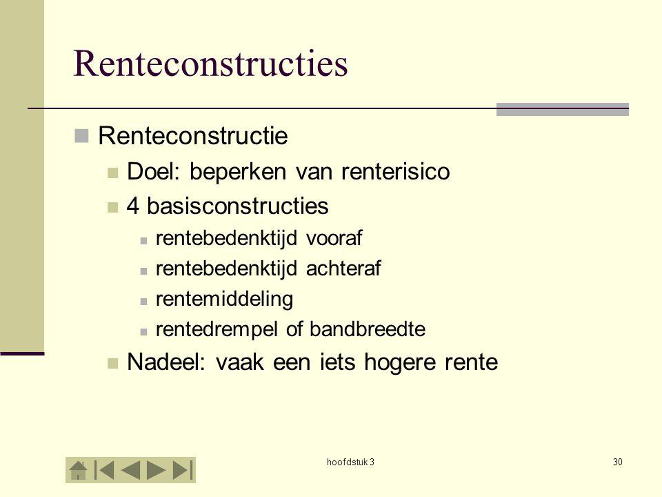 hoofdstuk 330 Renteconstructies  Renteconstructie  Doel: beperken van renterisico  4 basisconstructies  rentebedenktijd vooraf  rentebedenktijd achteraf  rentemiddeling  rentedrempel of bandbreedte  Nadeel: vaak een iets hogere rente