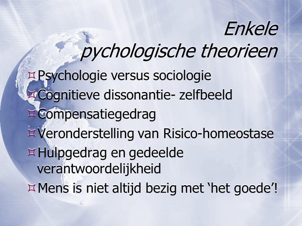 Enkele pychologische theorieen  Psychologie versus sociologie  Cognitieve dissonantie- zelfbeeld  Compensatiegedrag  Veronderstelling van Risico-h
