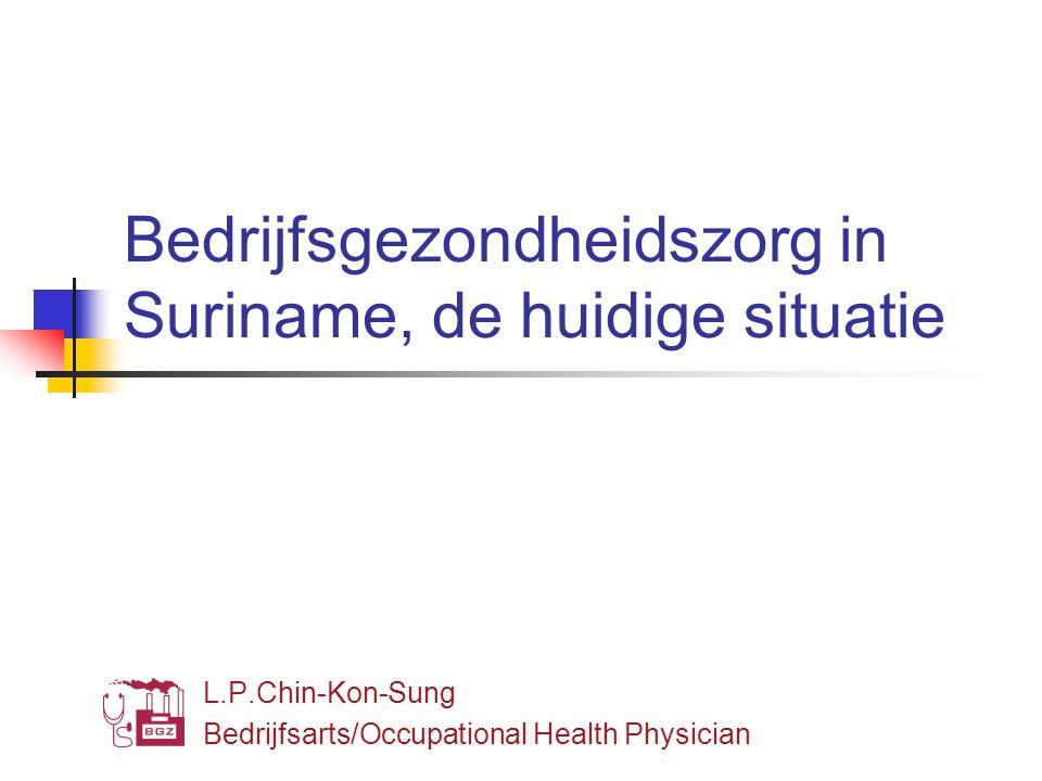 Bedrijfsgezondheidszorg in Suriname, de huidige situatie L.P.Chin-Kon-Sung Bedrijfsarts/Occupational Health Physician