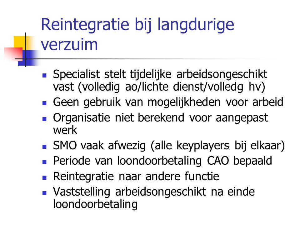 Reintegratie bij langdurige verzuim  Specialist stelt tijdelijke arbeidsongeschikt vast (volledig ao/lichte dienst/volledg hv)  Geen gebruik van mog