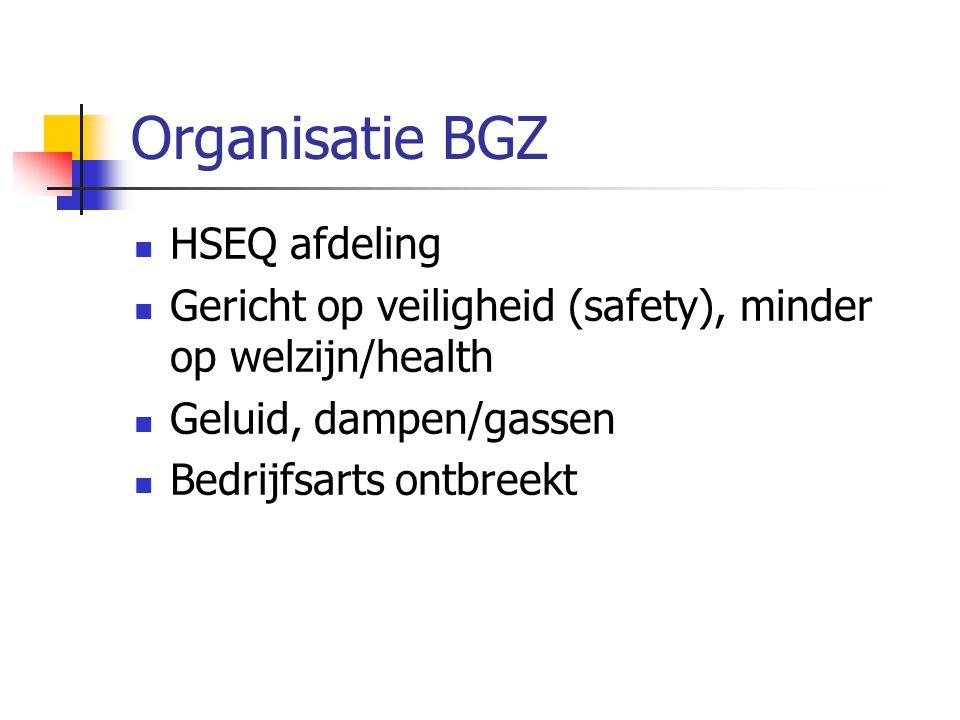 Organisatie BGZ  HSEQ afdeling  Gericht op veiligheid (safety), minder op welzijn/health  Geluid, dampen/gassen  Bedrijfsarts ontbreekt