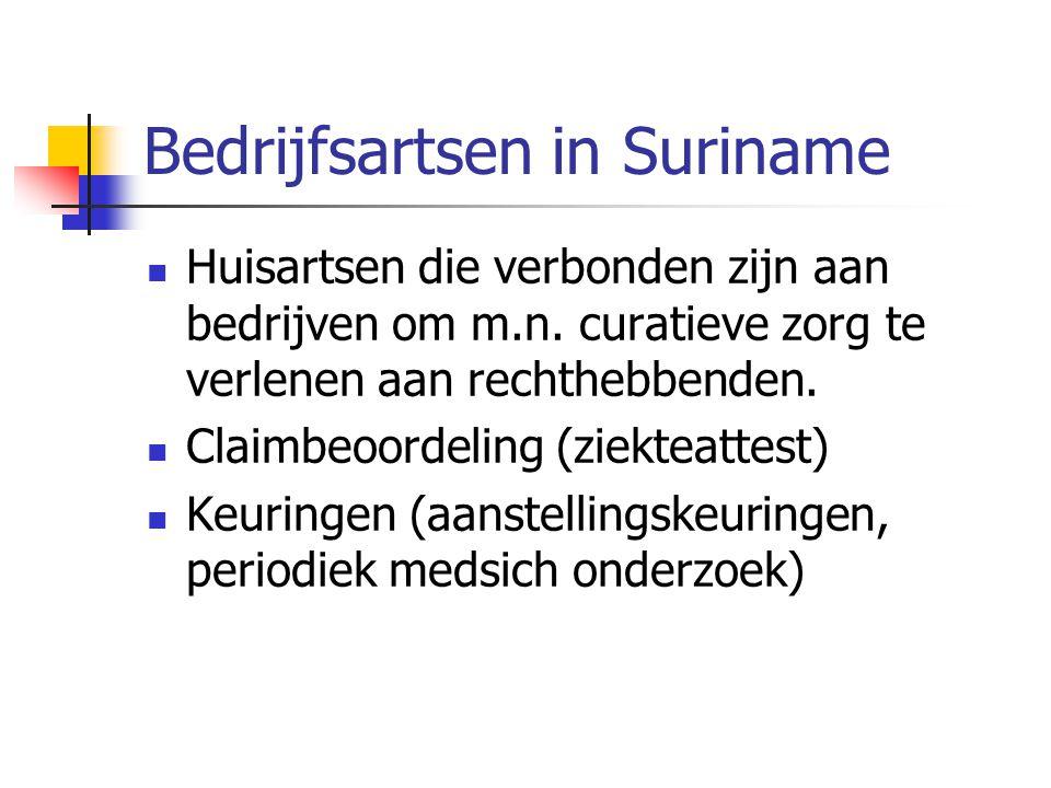 Bedrijfsartsen in Suriname  Huisartsen die verbonden zijn aan bedrijven om m.n. curatieve zorg te verlenen aan rechthebbenden.  Claimbeoordeling (zi