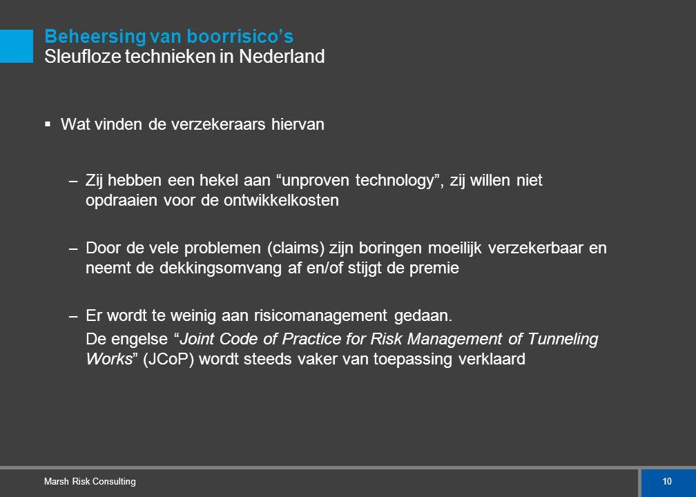 10 Marsh Risk Consulting Beheersing van boorrisico's Sleufloze technieken in Nederland  Wat vinden de verzekeraars hiervan – Zij hebben een hekel aan