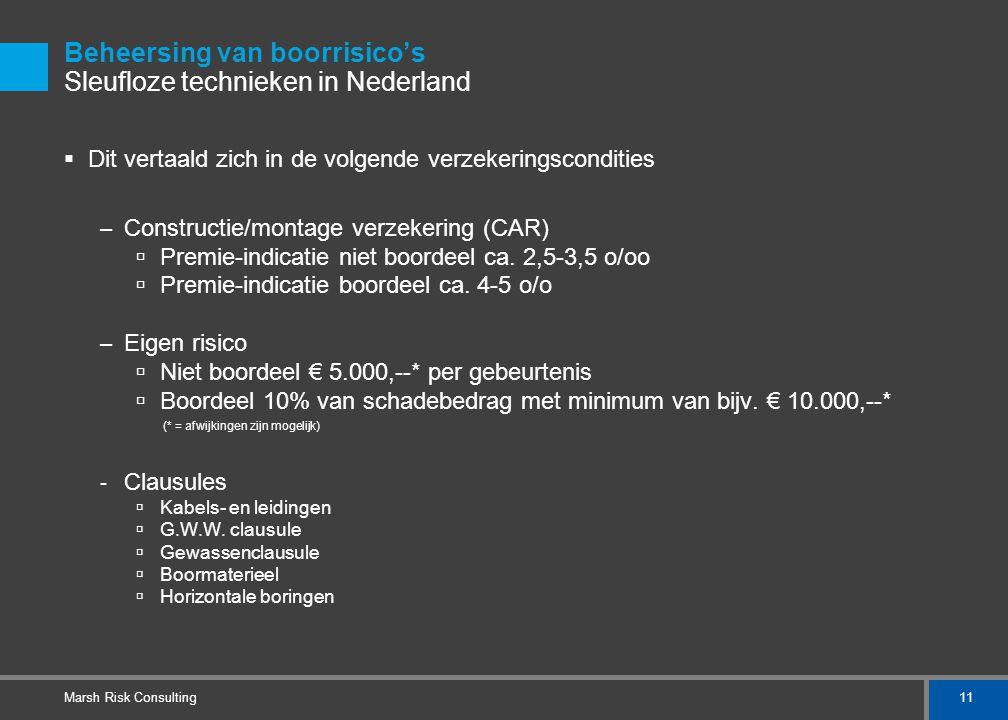 11 Marsh Risk Consulting Beheersing van boorrisico's Sleufloze technieken in Nederland  Dit vertaald zich in de volgende verzekeringscondities – Cons