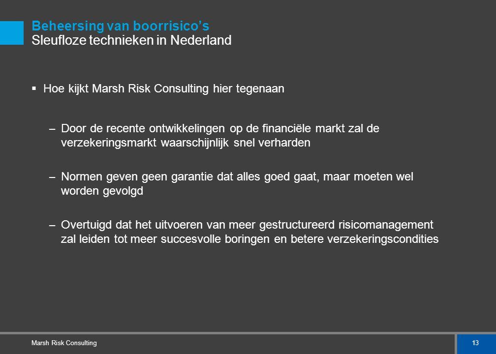 13 Marsh Risk Consulting Beheersing van boorrisico's Sleufloze technieken in Nederland  Hoe kijkt Marsh Risk Consulting hier tegenaan – Door de recen