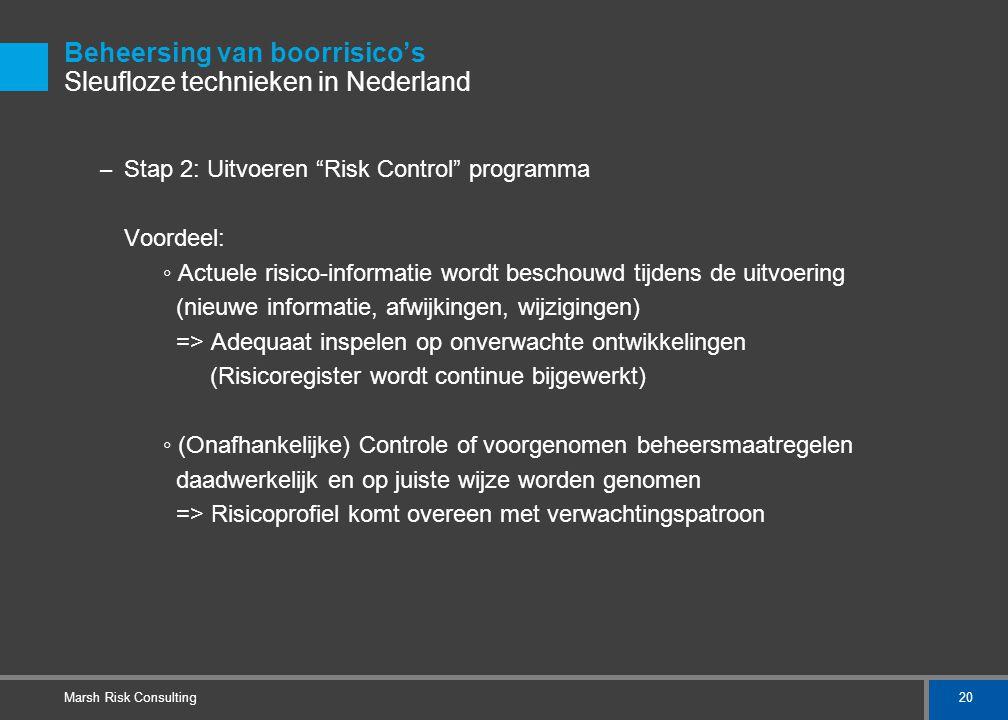 """20 Marsh Risk Consulting Beheersing van boorrisico's Sleufloze technieken in Nederland – Stap 2: Uitvoeren """"Risk Control"""" programma Voordeel: ◦ Actuel"""