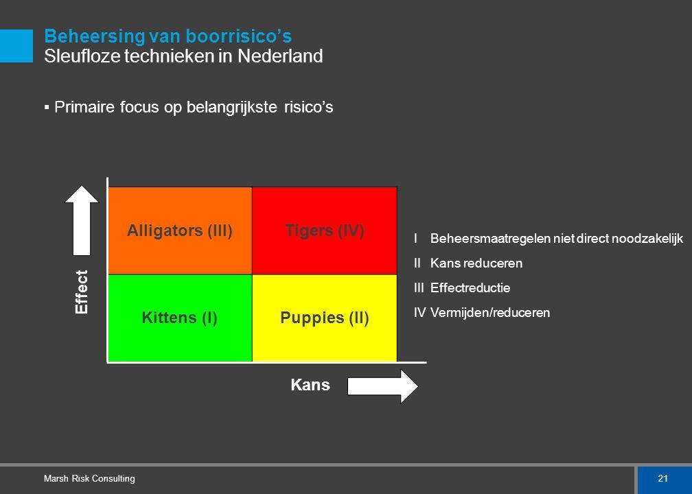 21 Marsh Risk Consulting Beheersing van boorrisico's Sleufloze technieken in Nederland ▪ Primaire focus op belangrijkste risico's Alligators (III)Tige